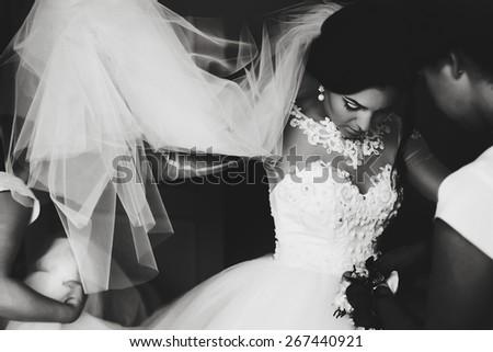 art wedding photo of brides morning getting ready - stock photo