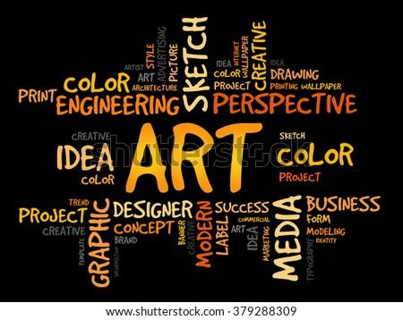 ART word cloud, business concept - stock photo