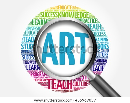 ART word cloud with magnifying glass, concept 3D illustration - stock photo