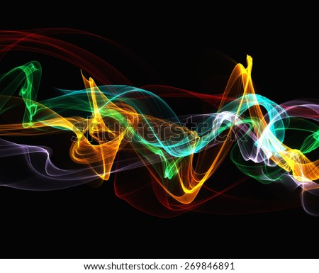 Art work colorful smoke abstract waves on black background. The perfect screensaver on various devices - stock photo