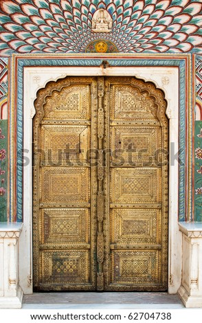 Art work Door in City Palace Jaipur, India