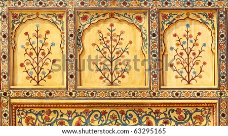 Art work in Amber Fort near Jaipur city in India. Rajasthan - stock photo