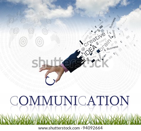 """art work of business hand with the """" communication """" word with nature background. - stock photo"""