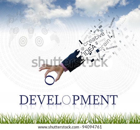 """art work of business hand with the """" development """" word with nature background. - stock photo"""