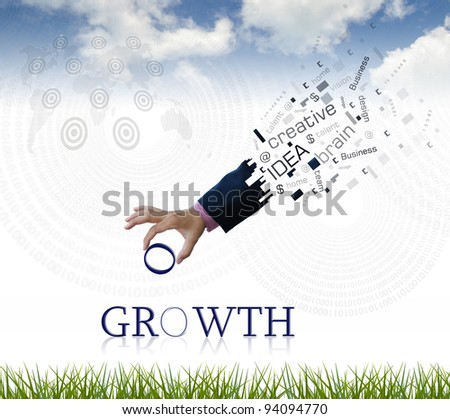 "art work of business hand with the "" growth "" word with nature background. - stock photo"