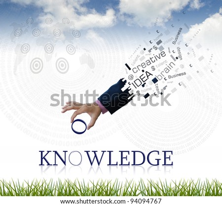 """art work of business hand with the """" knowledge """" word with nature background. - stock photo"""