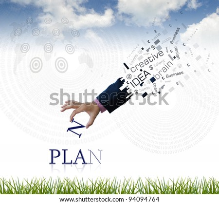 """art work of business hand with the """" plan """" word with nature background. - stock photo"""
