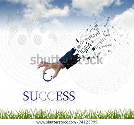 "art work of business hand with the "" success "" word with nature background. - stock photo"