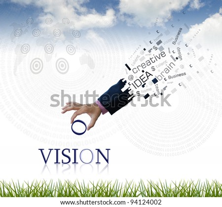 "art work of business hand with the "" vision "" word with nature background. - stock photo"