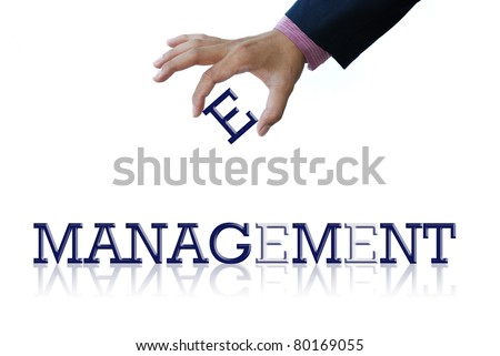 art work of business hand with the word - stock photo