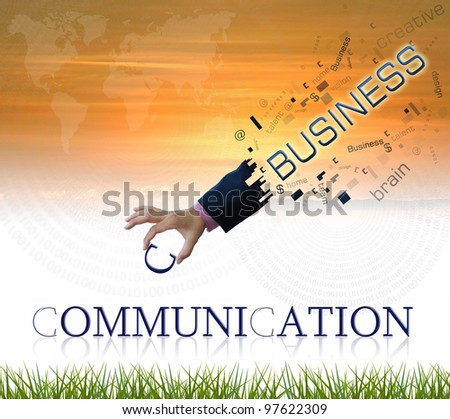 art work of business hand with wording on sunset sky background. - stock photo