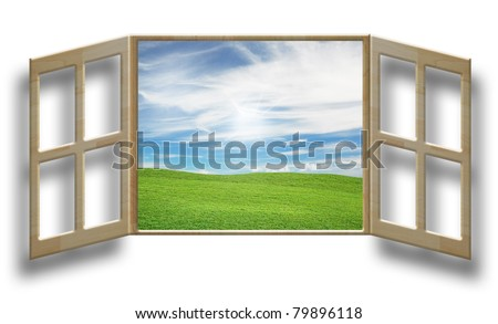 art work of concepts nature outside the window - stock photo