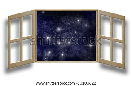 art work of wood window on white wall with outer space background - stock photo