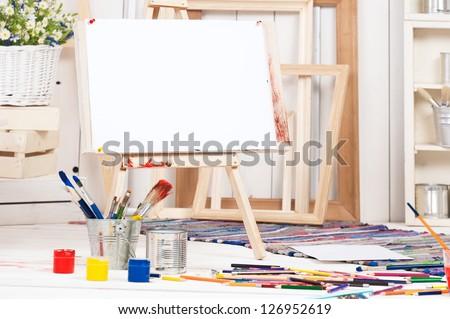 Art workshop for children - stock photo