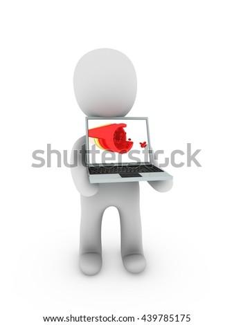 artera on screen laptop - 3D illustration - stock photo