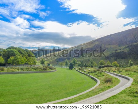 Arthur Seat hill in Edinburgh, Scotland, UK - stock photo