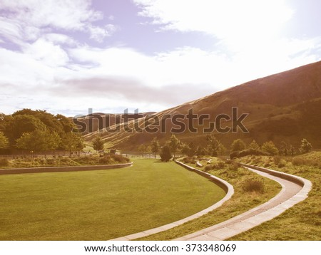 Arthur Seat hill in Edinburgh, Scotland, UK vintage - stock photo