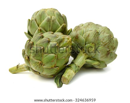 artichoke isolated on white - stock photo