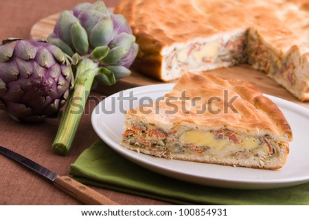 Artichoke Pie. - stock photo