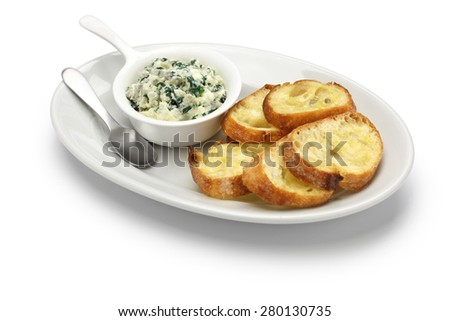 artichoke spinach dip, healthy vegetarian food isolated on white background