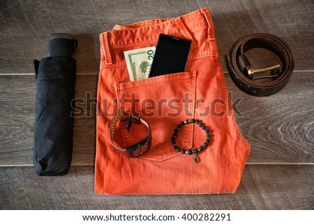 articles of apparel and accessories for men in everyday life - stock photo