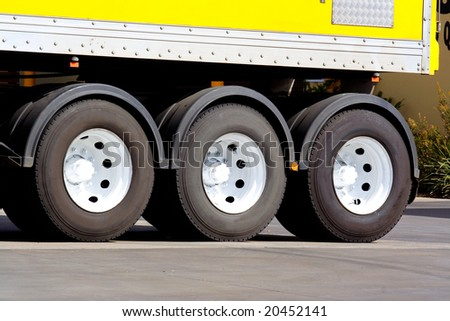 Articulated semi truck wheels - stock photo