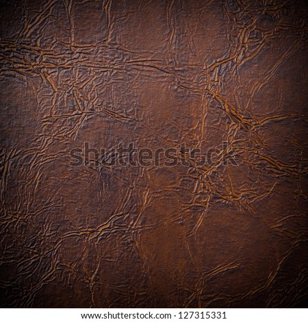 Artificial brown leather background - stock photo