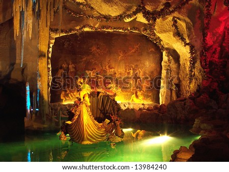 Artificial cave in Linderhof Castle, Bavaria, Germany - stock photo