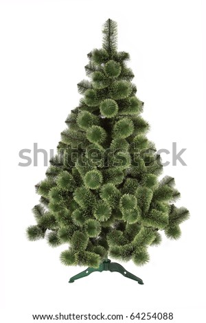 artificial christmas pine tree isolated on white background - stock photo