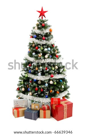 Artificial Christmas tree isolated on white, decorated with colorful ornaments and silver garland, a lot of presents under the tree - stock photo