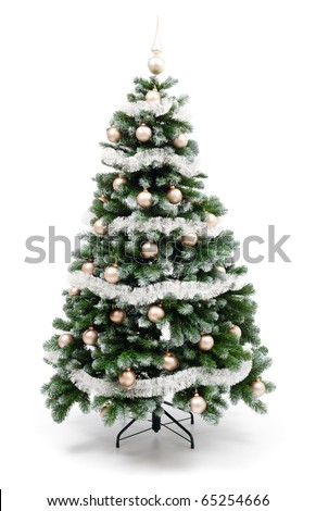 Artificial christmas tree isolated on white, decorated with golden ornaments and silver garland - stock photo