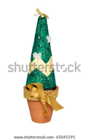 Artificial christmas tree with place for yout text - stock photo