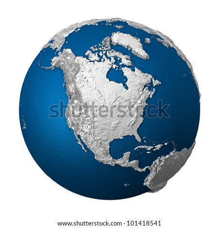 Artificial Earth - North America. White lands and blue oceans. Detailed surface. 3d render - stock photo