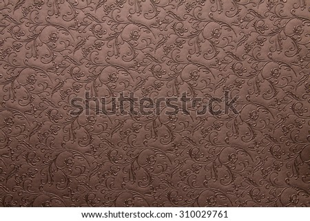 Artificial fabric texture Bole brown with floral classy pattern