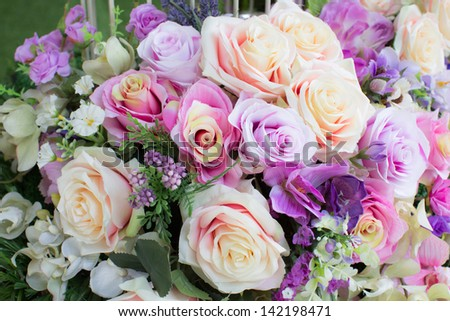 Artificial flower in wedding party - stock photo