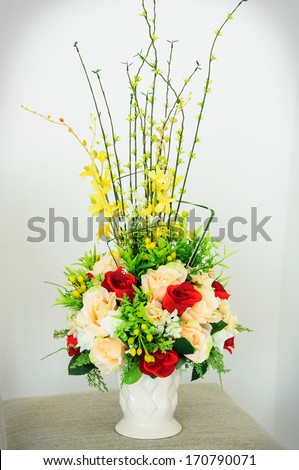 Artificial flowers. - stock photo