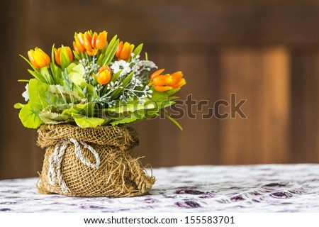 artificial flowers made from cloth - stock photo