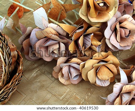 artificial flowerses from birch bark - stock photo