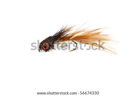 artificial fly fishing - stock photo
