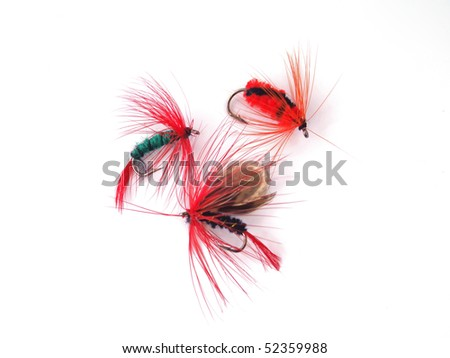 Artificial fly used for fly fishing. - stock photo
