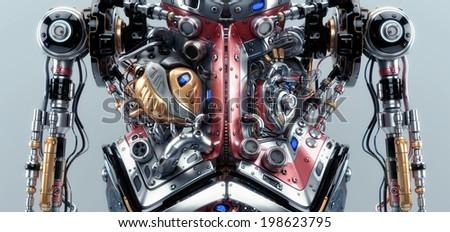 Artificial futuristic human organs. 3d model render / Robotic humanoid body - stock photo