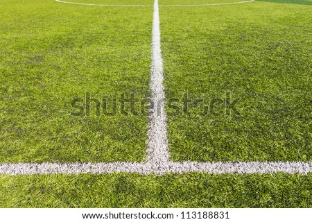 Artificial grass soccer pitch or indoor futsal pitch - stock photo