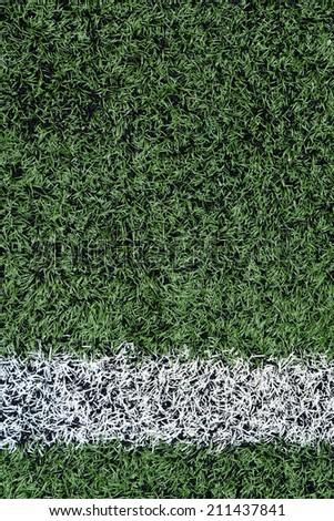 Artificial grass with white stripe - stock photo