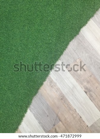 Artificial Green Glass with Engineering Wood floor  - abstract background