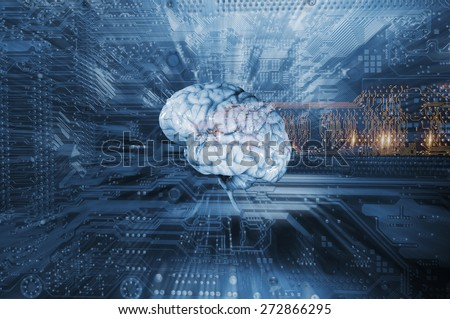 artificial intelligence and communication, brain and computer-part, slight zoom effect - stock photo