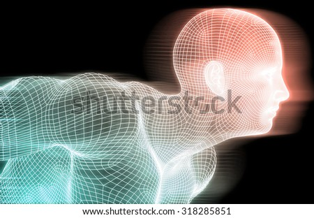 Artificial Intelligence Concept with Wire Mesh Grid - stock photo
