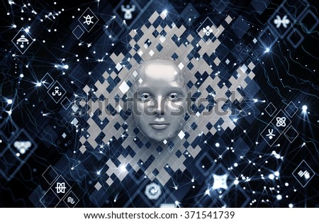 Artificial Intelligence. Conceptual composition on the subject of Future Technologies. 3d rendered graphics with realistic depth of field blur effect. - stock photo