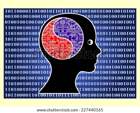 Artificial Intelligence. Futuristic vision of a person with supernatural brain power