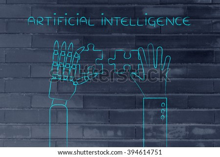 artificial intelligence: human and robot hands solving a puzzle - stock photo