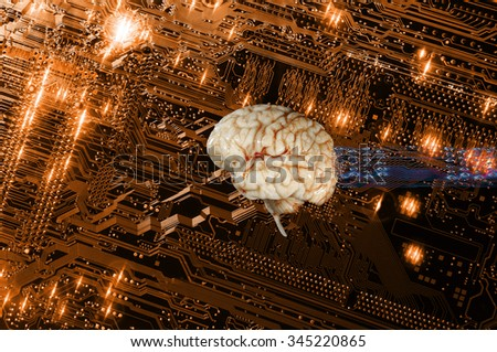 artificial intelligence, human brain and communication, electronics and computers - stock photo